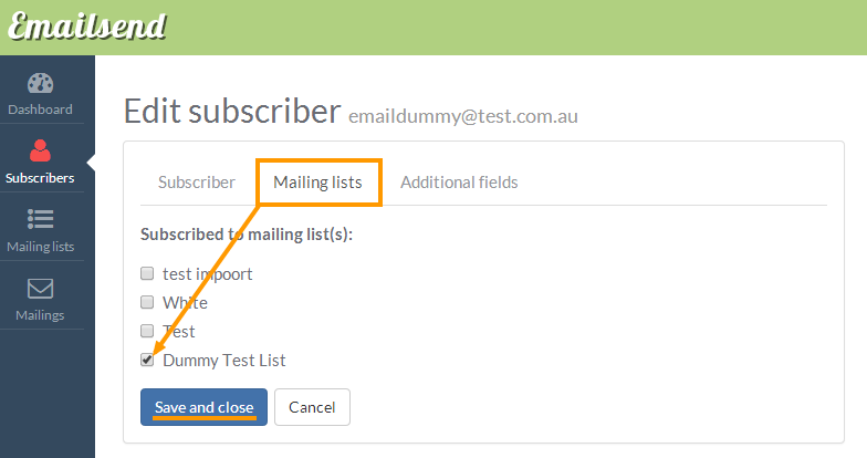 assign to mailing list
